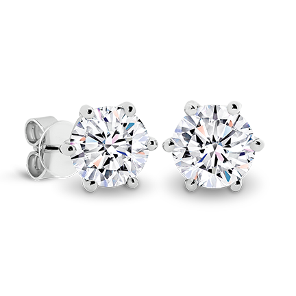 MOISSANITE, 14K EARRING 5.0mm