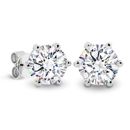 MOISSANITE, 14K EARRING 7.5mm